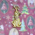 """Брошь """"Кот и мышь встречают Рождество"""" под золото"""