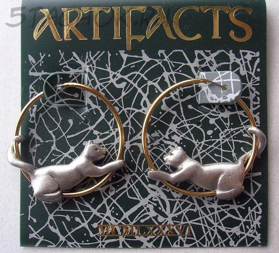 Серьги кольца кошки под олово золото